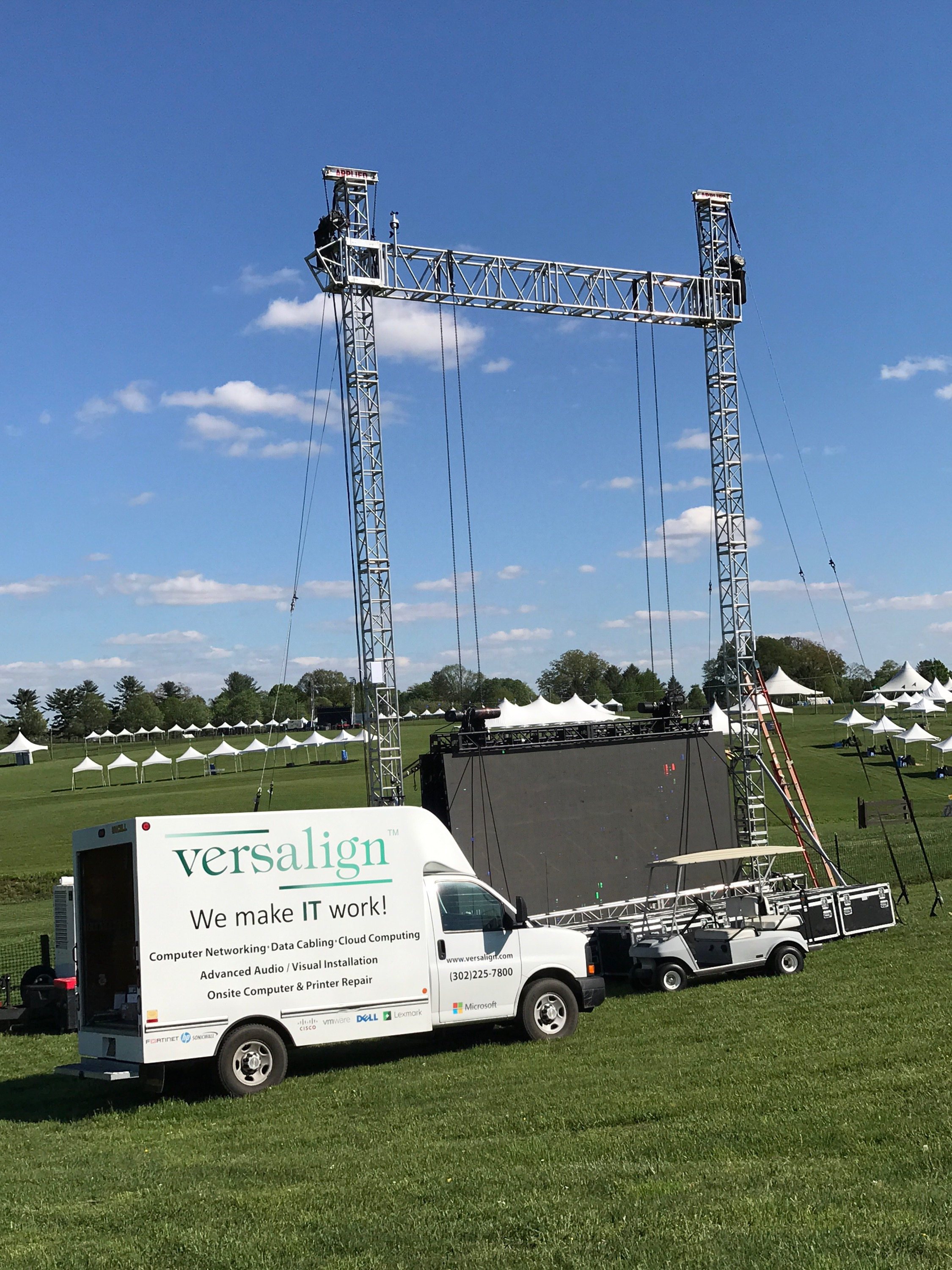 Versalign team working on providing wireless access to Point to Point attendees.